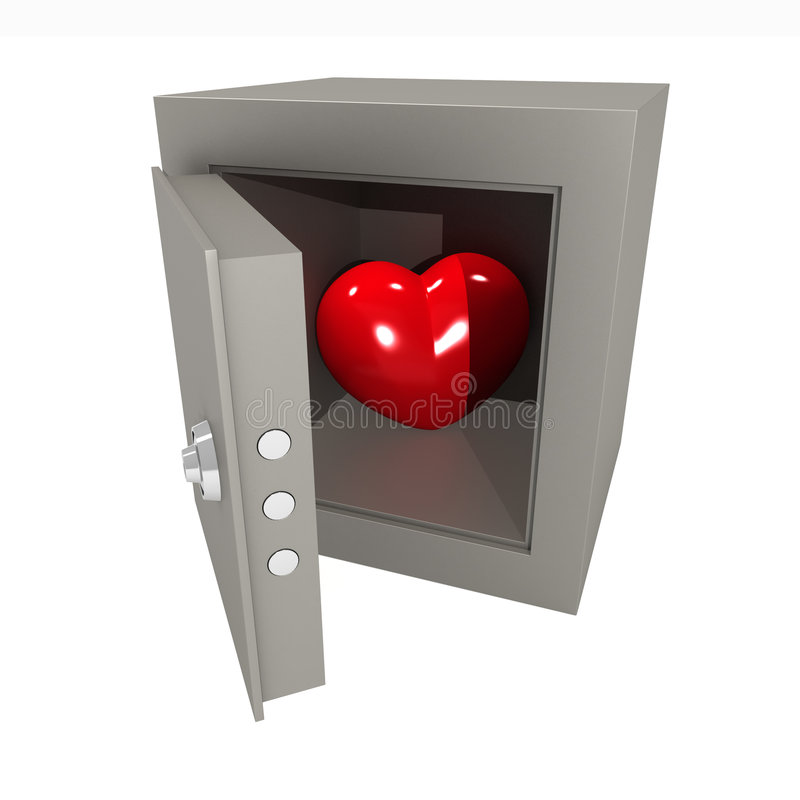 Heart in the safe. Three-dimensional model. A figure of heart in the metal safe stock illustration