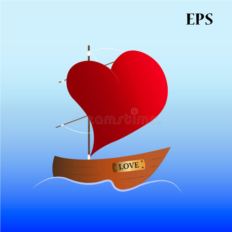 Heart sail. Boat with sails with shape of heart floats in the water royalty free illustration