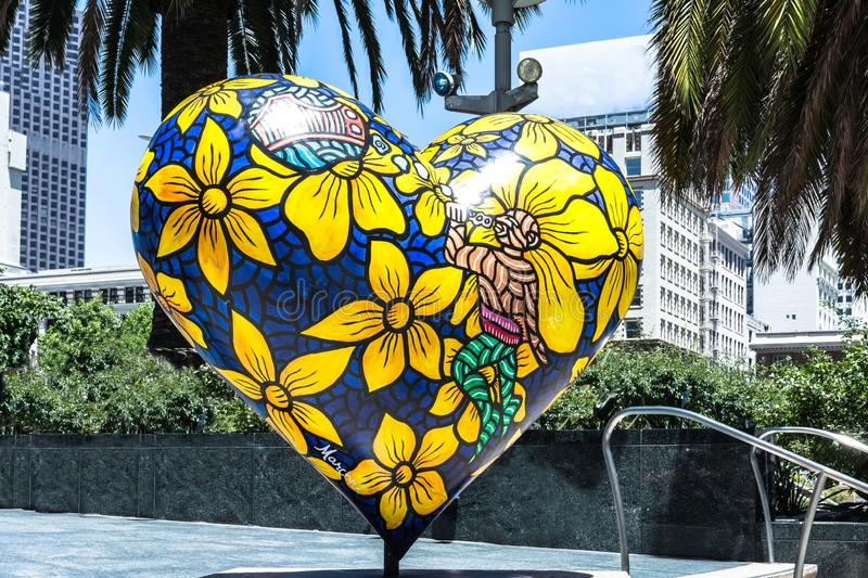 Heart in San Francisco, California. San Francisco,California,USA - June 26, 2016 : The yellow blue Heart in Union Square stock images
