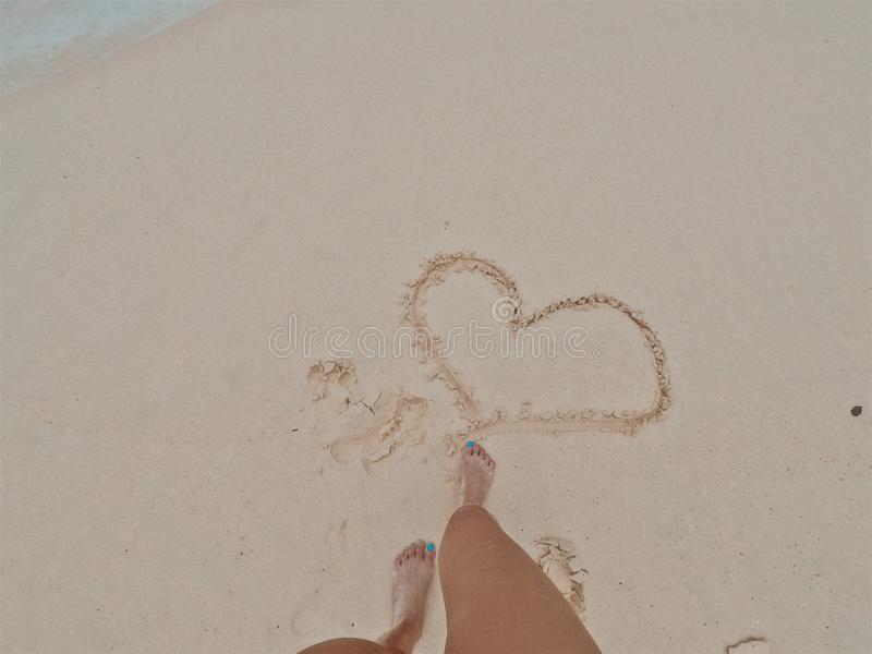 Heart on the sand. royalty free stock photography