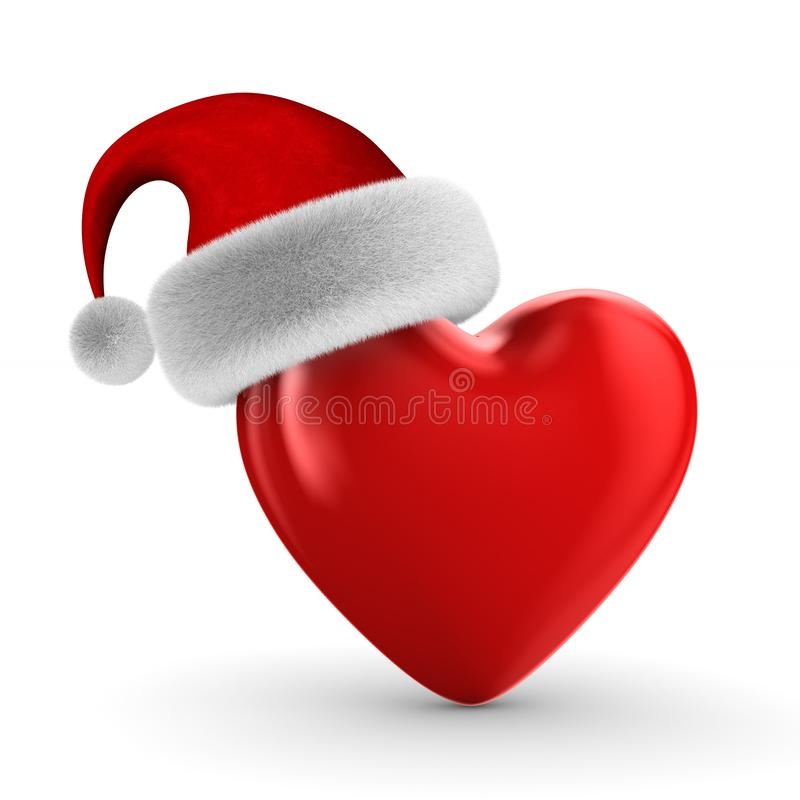 Heart and santa claus hat on white background. Isolated 3D illustration royalty free illustration