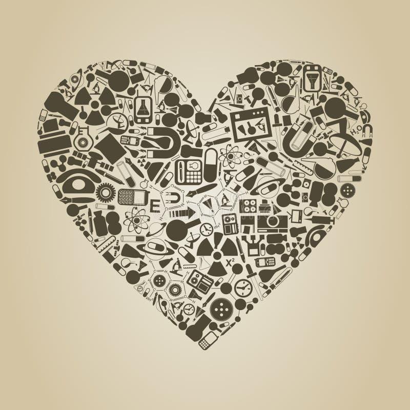 Download Heart a science stock vector. Image of gear, rocket, radio - 26028301