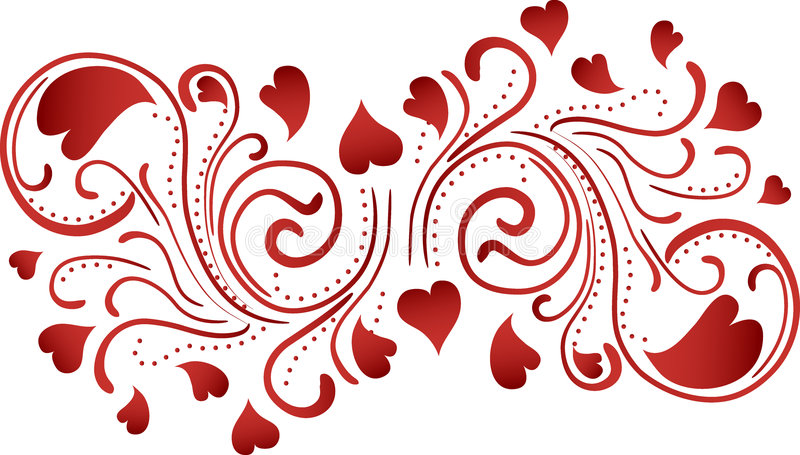 Heart Scroll Background stock illustration