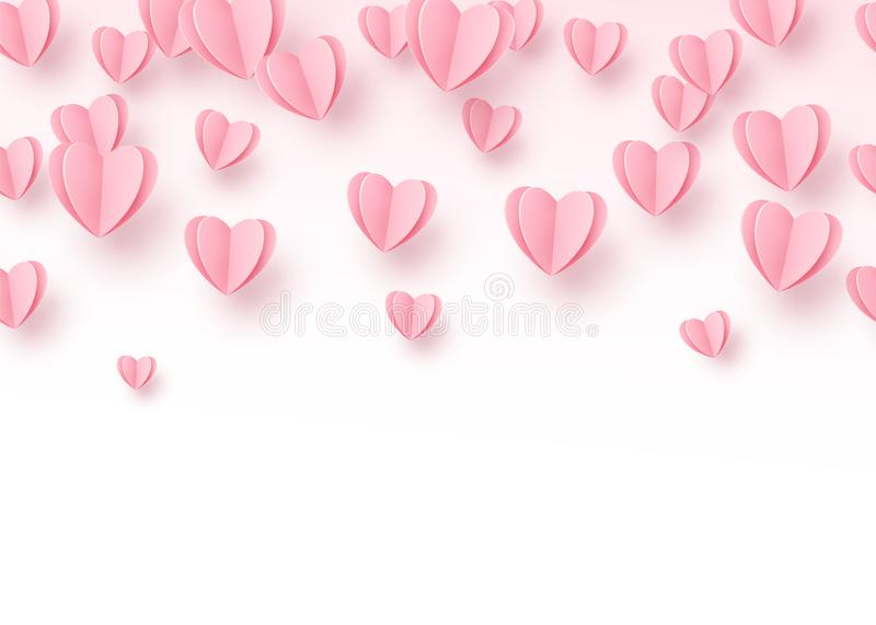 Heart seamless background with light pink paper cut hearts. Love pattern for graphic design, cards, banner, flyer. Greetings. Vector illustration royalty free illustration