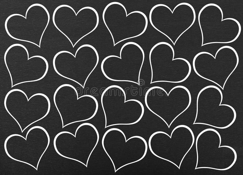 Heart seamless pattern. On black background stock illustration