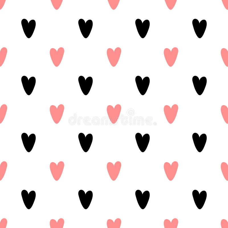 Heart seamless pattern with creative shape in geometric style. stock illustration