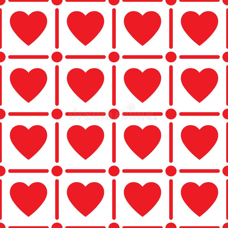 Heart seamless pattern, endless texture. Red hearts on white background, vector illustration. Valentine`s Day Pattern. royalty free illustration