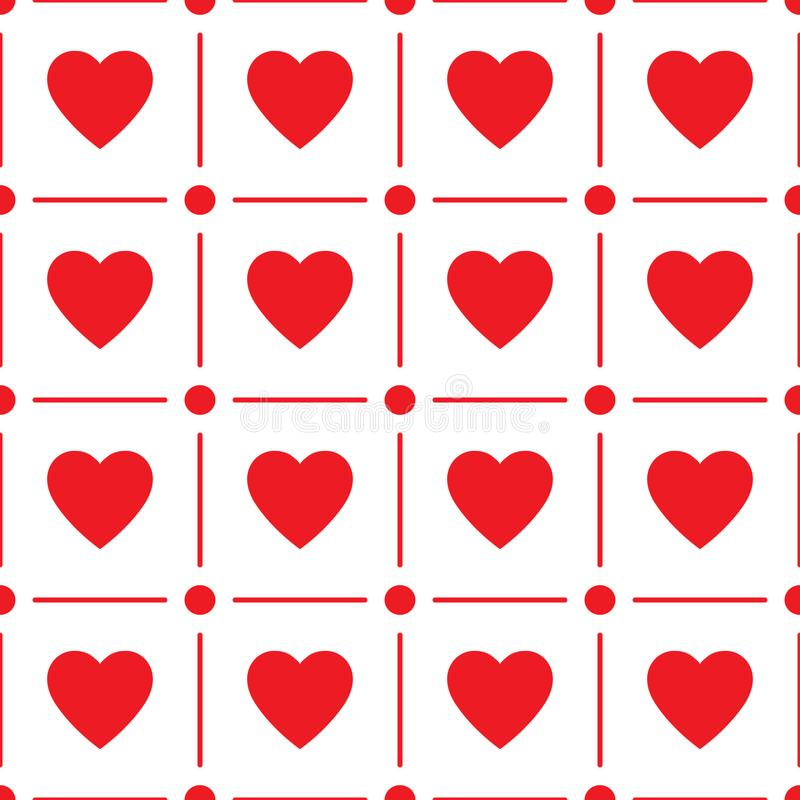 Heart seamless pattern, endless texture. Red hearts on white background, vector illustration. Valentine`s Day Pattern. vector illustration