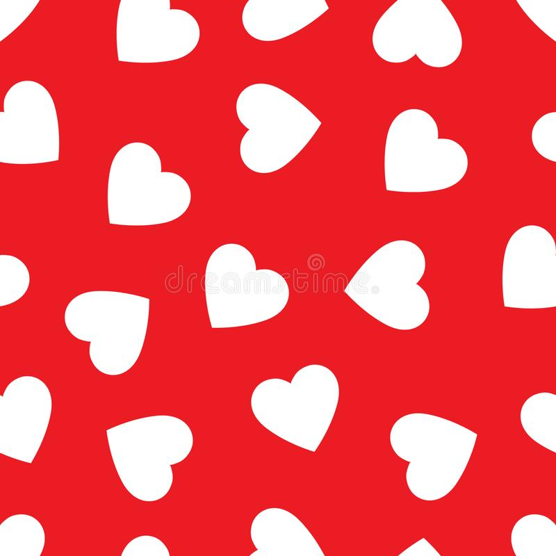 Heart seamless pattern, endless texture. White hearts on red background, vector illustration. vector illustration