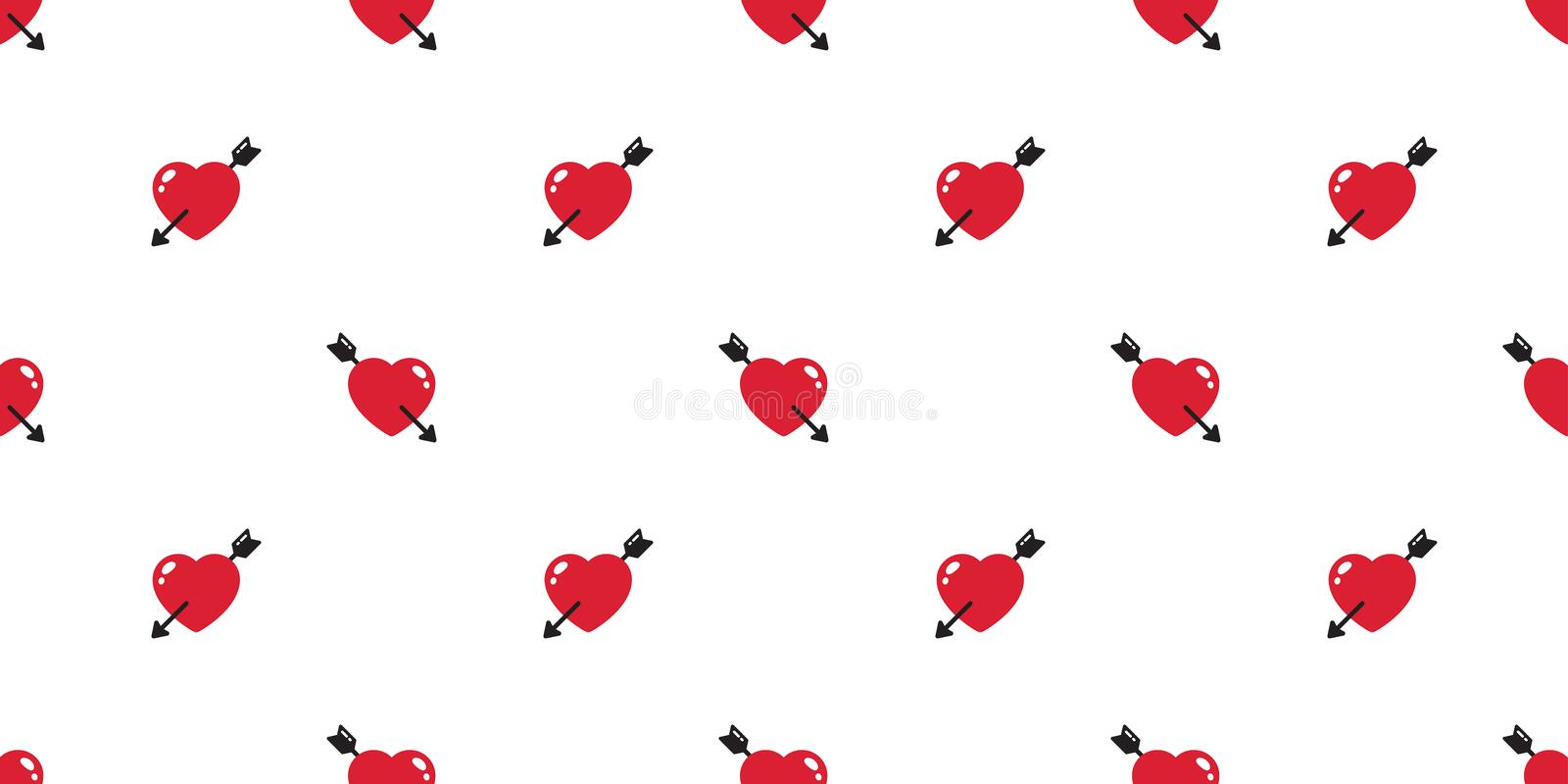 Heart seamless pattern valentine vector arrow gift wrap paper tile background repeat wallpaper scarf isolated illustration. Red vector illustration