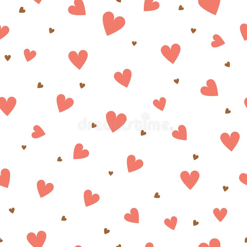 Heart seamless pattern. Valentines Day and wedding gift wrapper texture with love red hearts Vector texture royalty free illustration