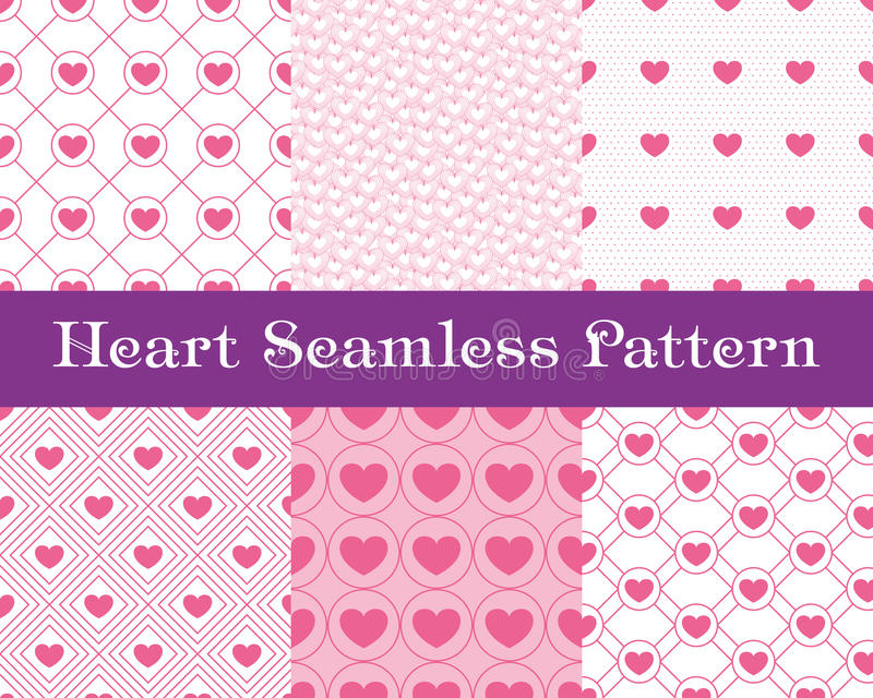 Heart seamless patterns. Pink color. Endless tiling texture for printing onto fabric and paper or scrap booking. Valentin royalty free illustration