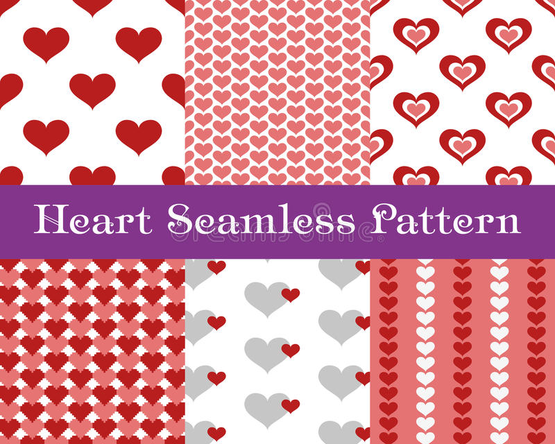 Heart seamless patterns. Pink and red color. Endless tiling texture for printing onto fabric and paper or scrap booking. Valentin. Es day vector background for vector illustration