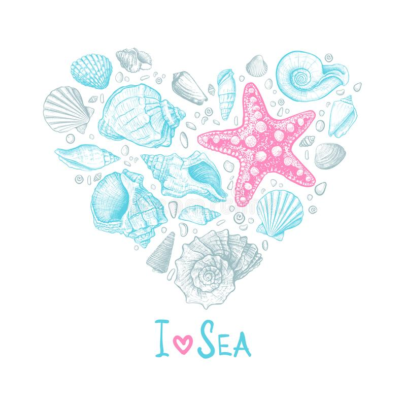 Heart Seashells Love. Inscription I Love Sea. Big heart consisting of shells different shapes, starfish and pebbles on a white background. Hand drawn sketch vector illustration