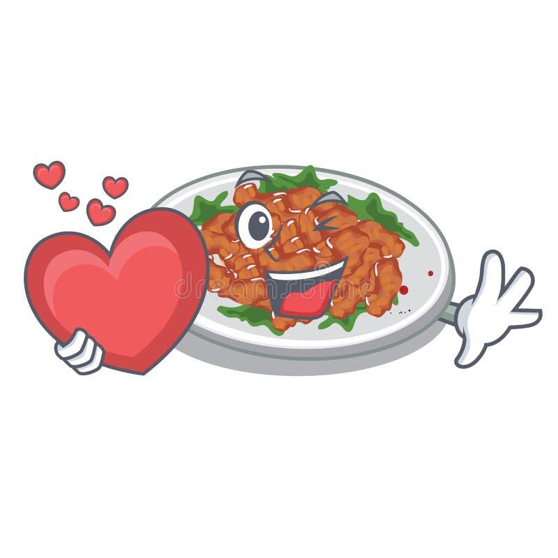 With heart sesame chicken in a cartoon bowl. Vector illustration stock illustration
