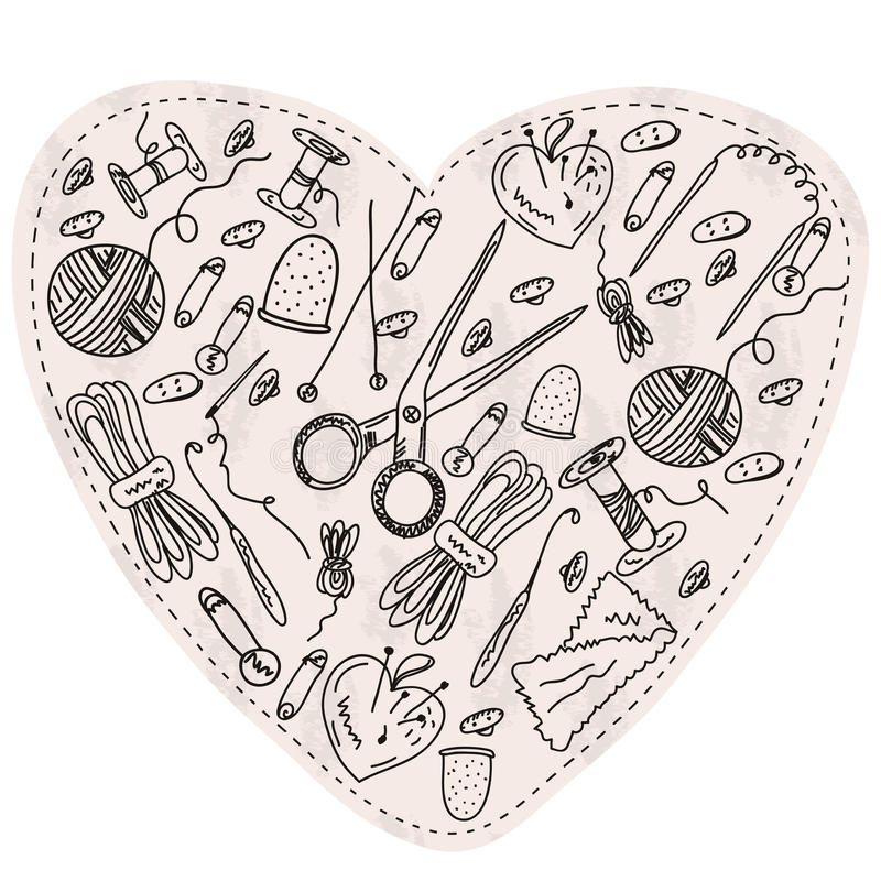 Heart With Sewing And Kniting Items Stock Photography