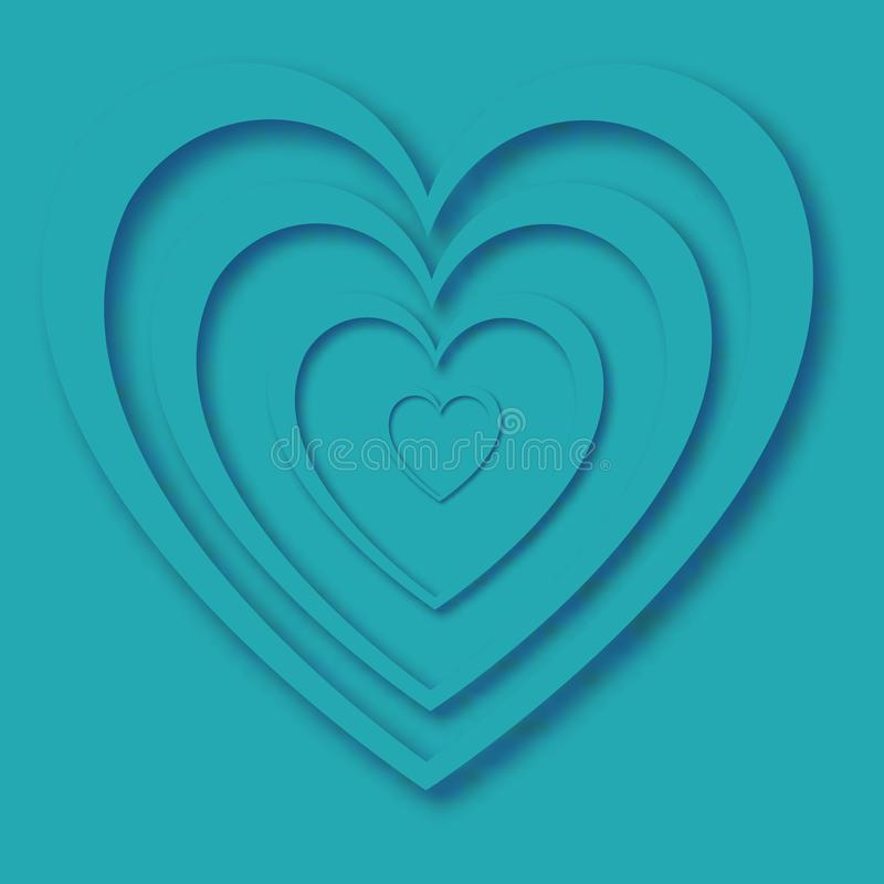Heart with shadow of beautiful abstract festive hearts made of blue paper for happy saint valentine`s day on a blue background vector illustration