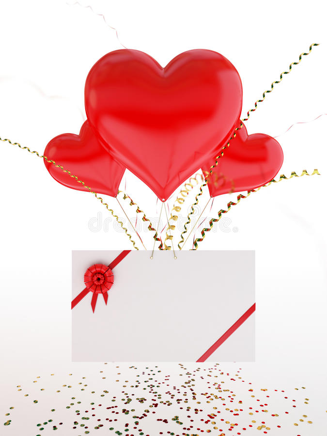 Download Heart Shape Balloons And A Love Note On Valentine Stock Images - Image: 22872614