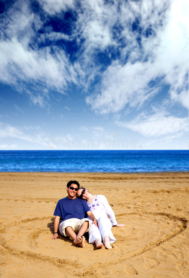 Download Heart Shape On The Beach With A Couple On It Stock Image - Image: 1912121