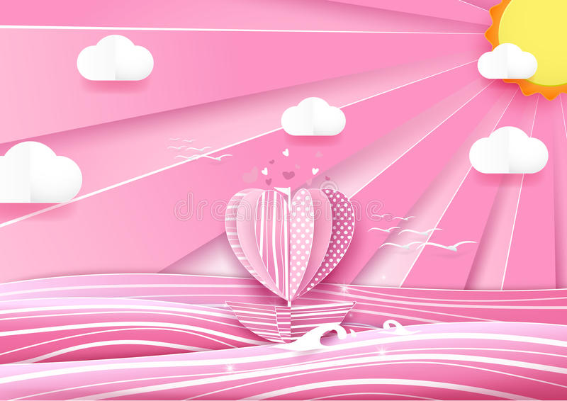 Heart shape boat in the sea and cloud sky. Love concept. Paper art and origami style royalty free illustration