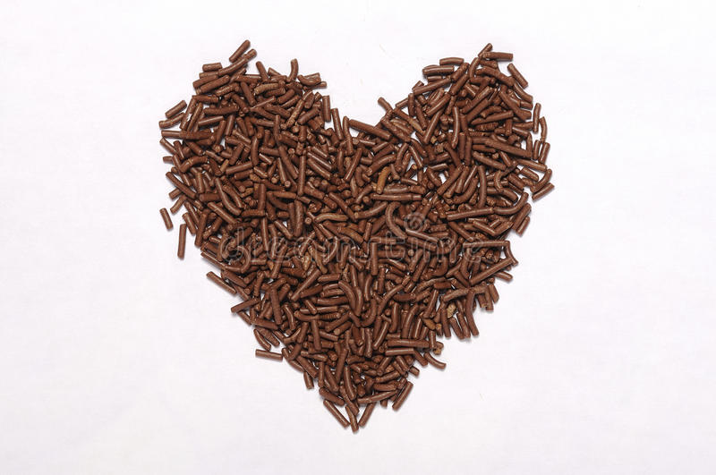 Heart Shape Chocolate Sprinkles. Isolated over white background royalty free stock photography