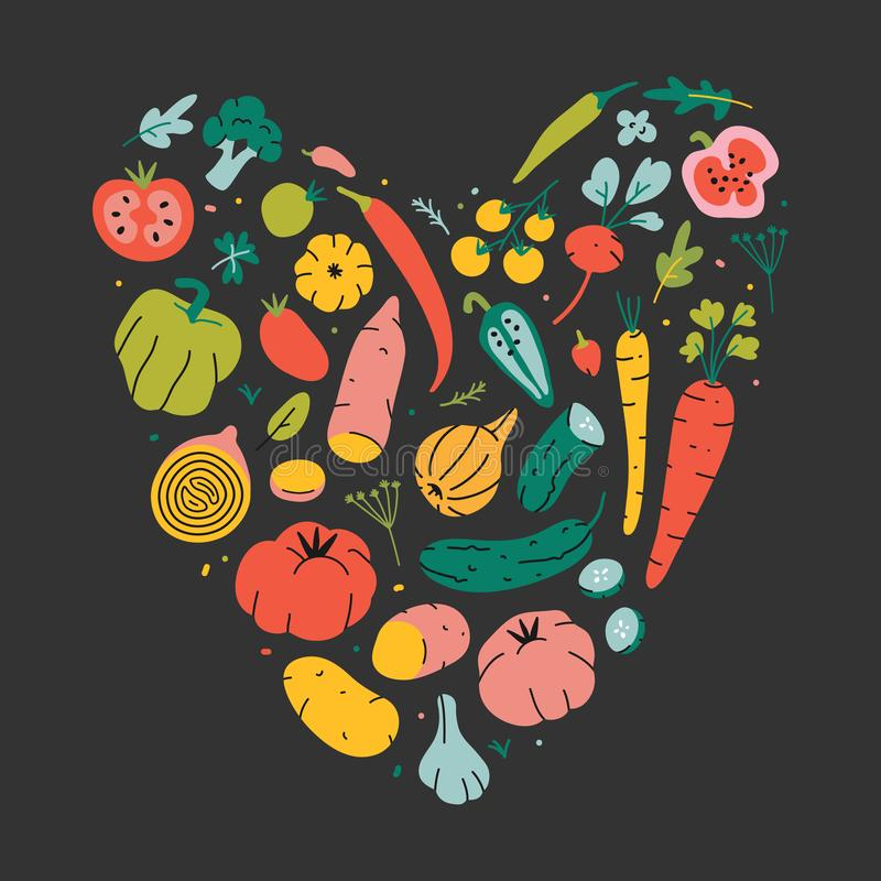 Heart shape collection of hand drawn cartoon style vegetables. Bundle of cute vector illustrations on black background. Symbol of vector illustration