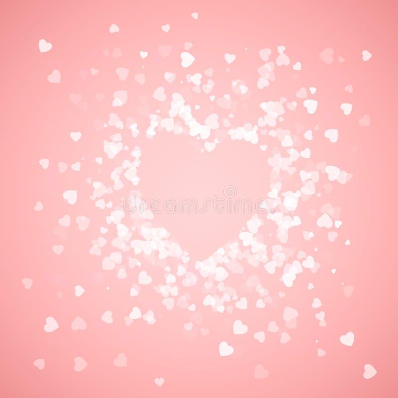 Heart shape confetti. Splash with pink heart frame inside. Happy Valentine`s day card. Vector illustration.  stock illustration