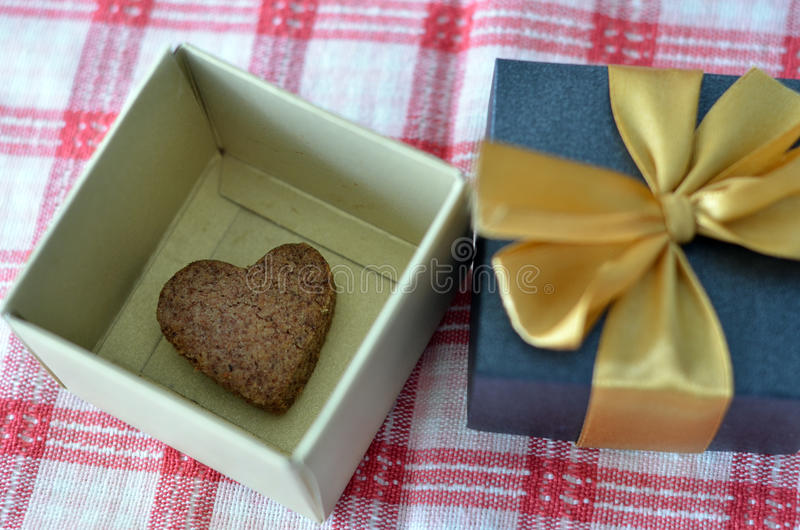 Heart Shape Cookie in Gift Box. A heart shape cookie in a gift box stock photography