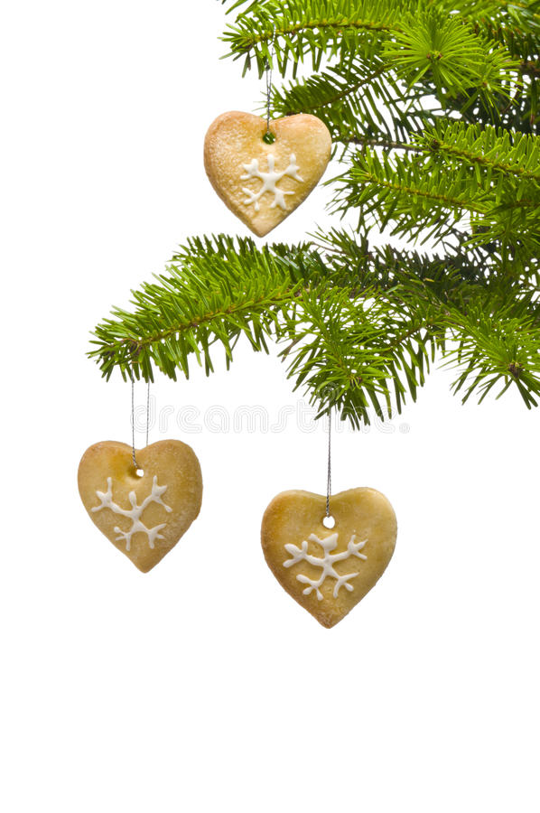 Heart shape cookies Christmas tree decoration stock photos