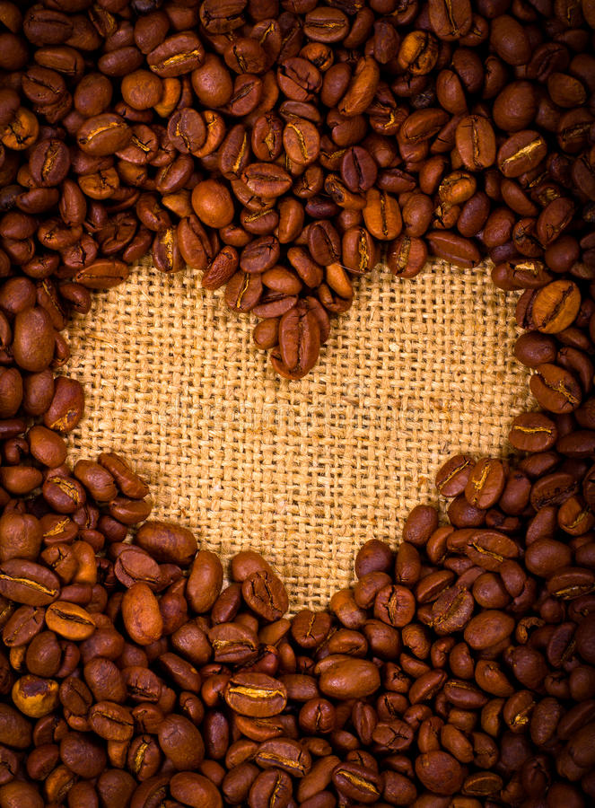 Download Heart Shape Created With Coffee Beans Royalty Free Stock Photos - Image: 21636768