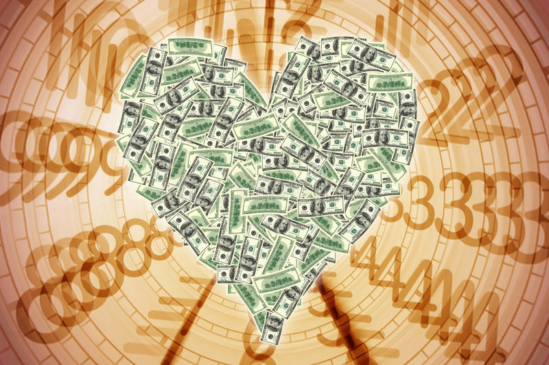 Heart shape with dollar bill vector illustration