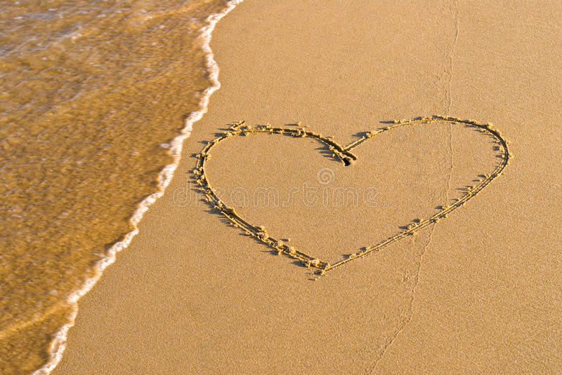 Download Heart Shape Drawing In The Sand Stock Image - Image: 31601897