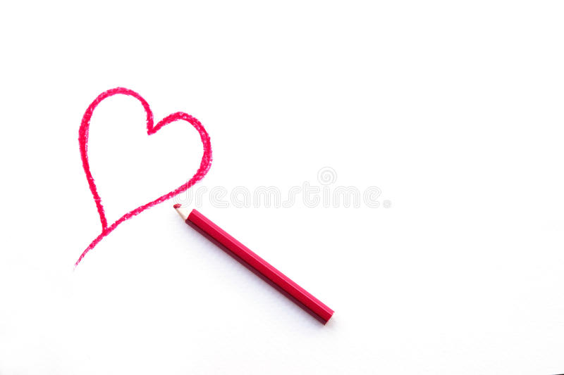 Heart Shape Drawing on White Paper stock image