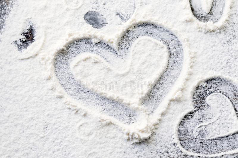 Heart shape drawn on the table stock photo