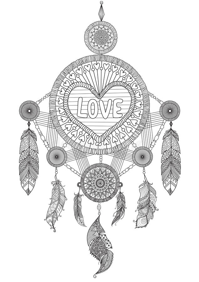 heart shape dream catcher with beautiful feathers for
