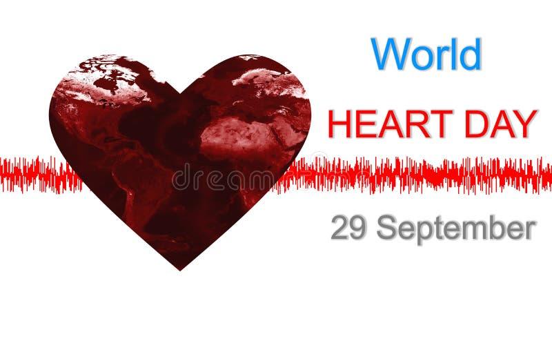 Heart shape earth under world heart day concept design background stock illustration