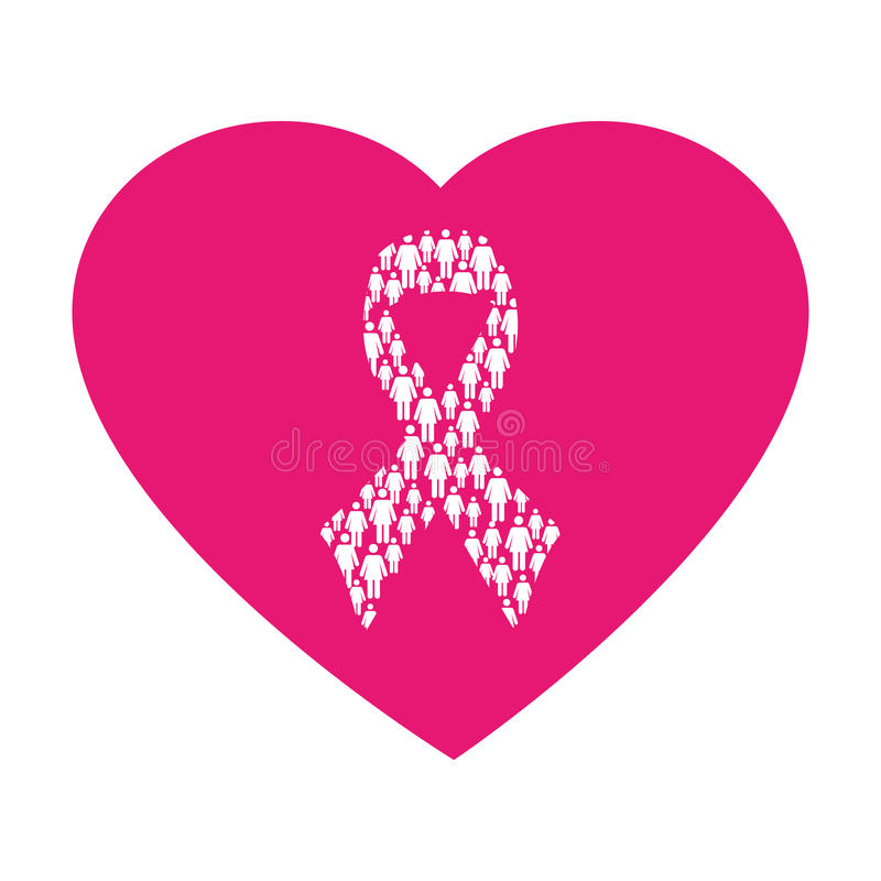 Heart Shape Emblem Pink With Symbol Breast Cancer Stock Vector