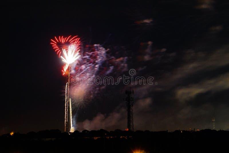 Heart shape Fireworks stock image