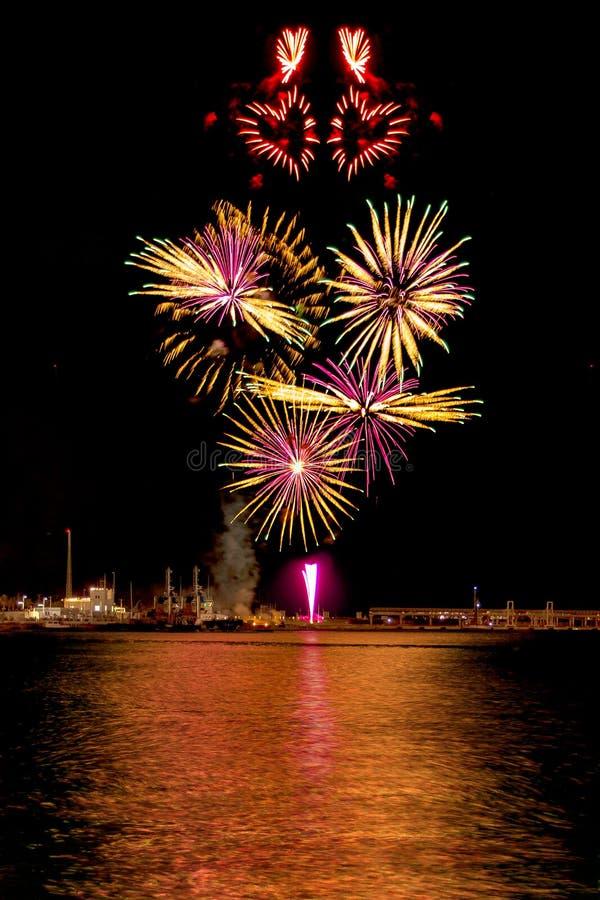 Heart shape fireworks royalty free stock photo