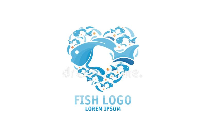 Heart shape fish logo design. Template for seafood restaurant, shop and sushi bar. Flat vector illustration EPS 10. Aquatic, wildlife, symbol, isolated, nature vector illustration