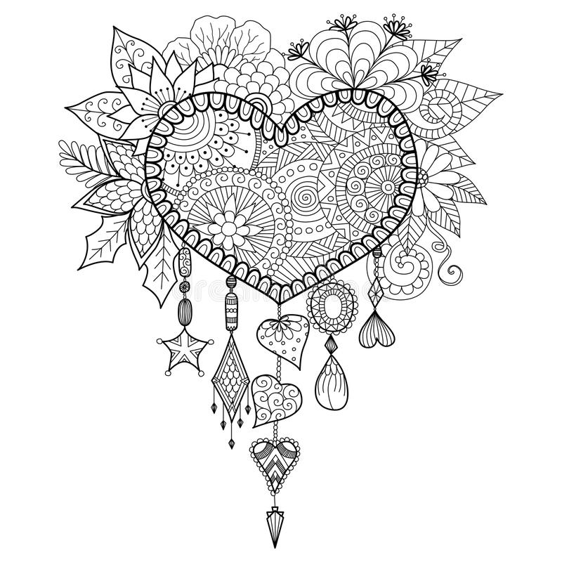 Heart shape floral dream catcher for coloring book for adult stock illustration