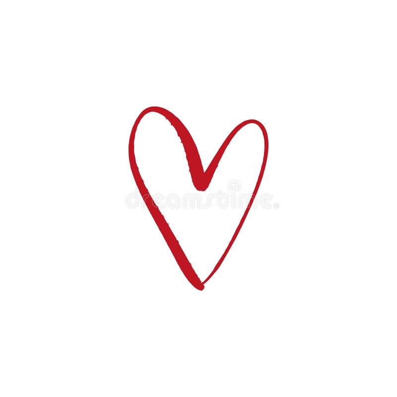 Heart shape form, color simple brush painting royalty free illustration