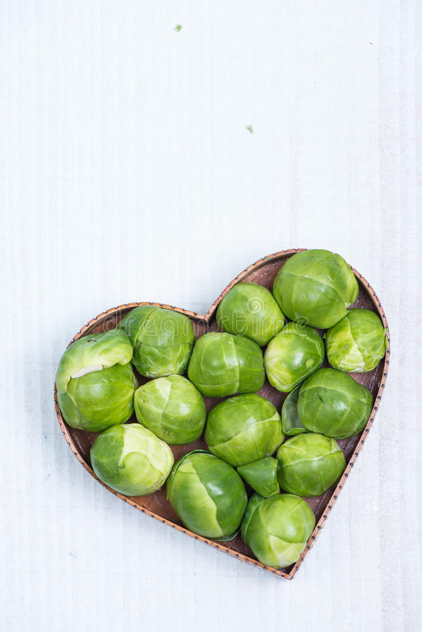 Heart shape with fresh green broccoli royalty free stock image