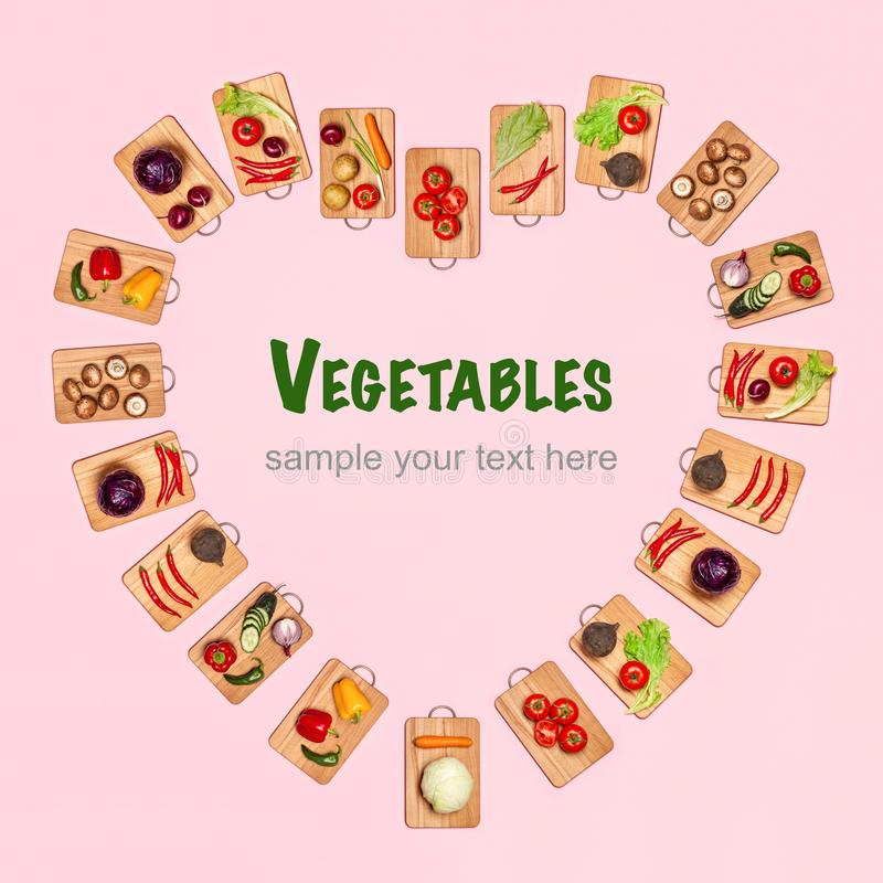 Heart shape from fresh vegetables stock photography