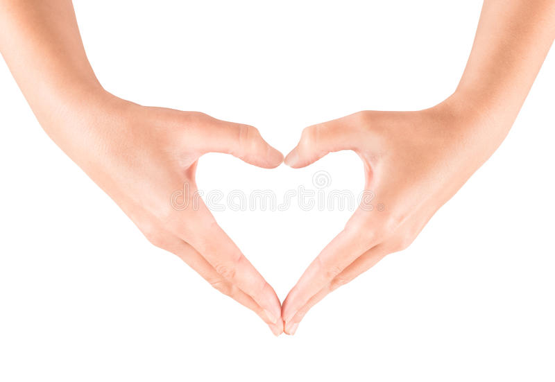 Heart shape gesture. Female hand showing heart shape gesture. Isolated on white royalty free stock photography