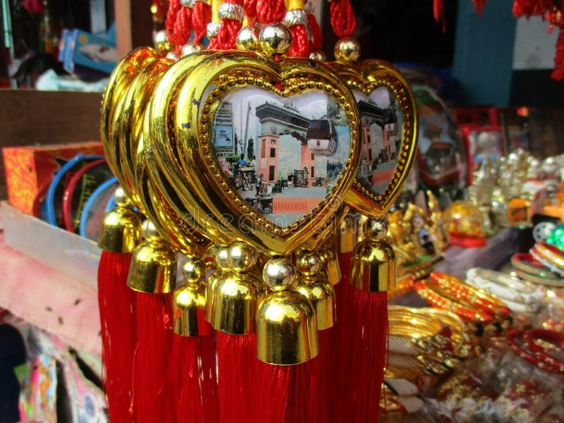 Heart shape gift item. For sale at a rural part of Nepal at a beautiful street shop royalty free stock photos