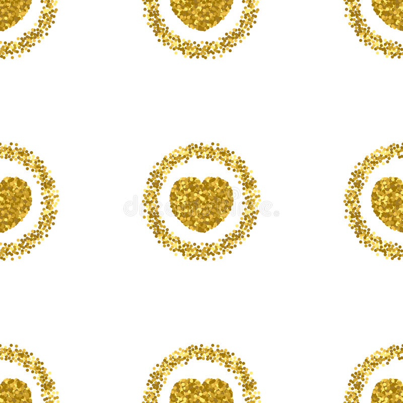 Heart shape from gold glitter.Heart glitter pattern.Gold sparkles stock illustration
