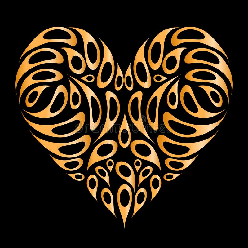 Heart shape golden on black for your design