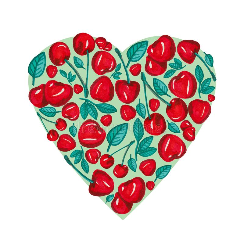 Heart shape with hand drawn red cherry and leaf on green, painting isolated on white royalty free illustration