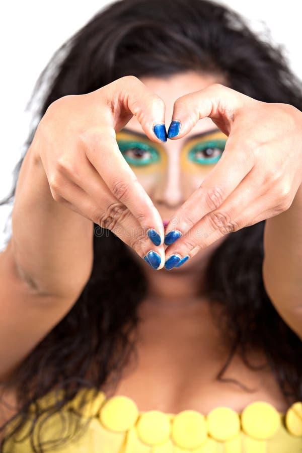 Heart shape hand sign stock image